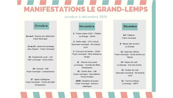 Manifestations Le Grand-Lemps - octobre à décembre 2019