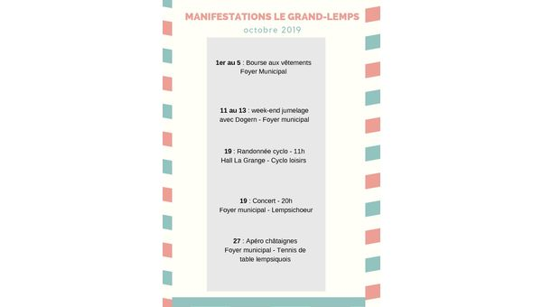 Manifestations Le Grand-Lemps - octobre 2019